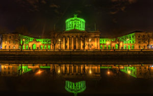 Four Courts at night, with green lighting; by Craig Fildes, via Flickr
